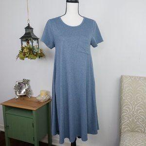 Lularoe Heathered Solid Carly Midi Dress Blue XS